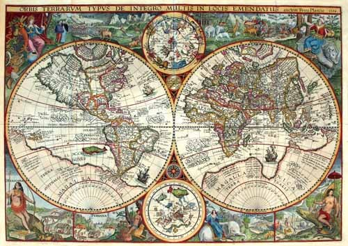 maps, drawings and watercolors - 1594, Orbis Plancius - Mapas antiguos
