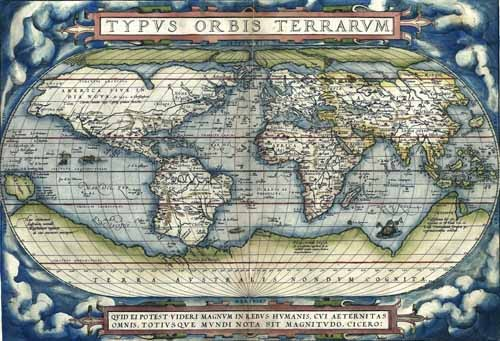 maps, drawings and watercolors - Ortelius World Map, 1570 - Mapas antiguos