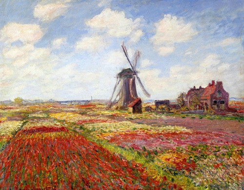 cuadros de paisajes - Cuadro Tulip Fields with the Rijnsburg Windmill, 1886 - Monet, Claude