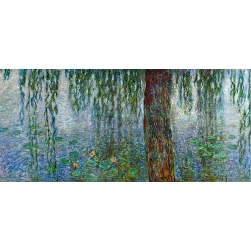 Waterlilies, Morning with Weeping Willows, (left section)