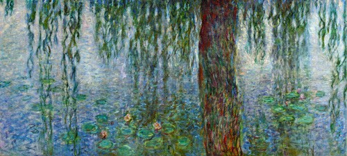 cuadros de paisajes - Cuadro Waterlilies, Morning with Weeping Willows, (left section) - Monet, Claude