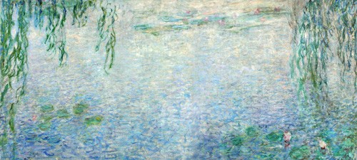 cuadros de paisajes - Cuadro Waterlilies, Morning with Weeping Willows, (central section) - Monet, Claude