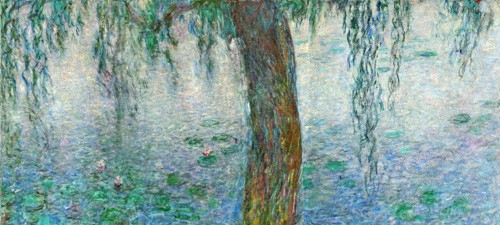 cuadros de paisajes - Cuadro Waterlilies, Morning with Weeping Willows, (right section) - Monet, Claude