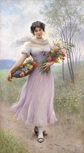 portrait and figure - Spring Flowers - Blaas, Eugen Von