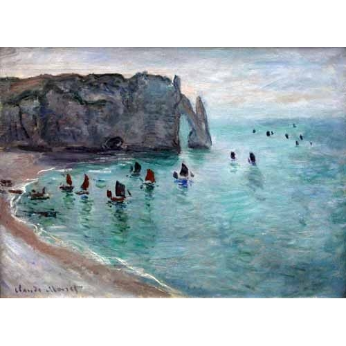 Comprar  - Etretat the Aval door fishing boats leaving the harbour, 1819 online - Monet, Claude