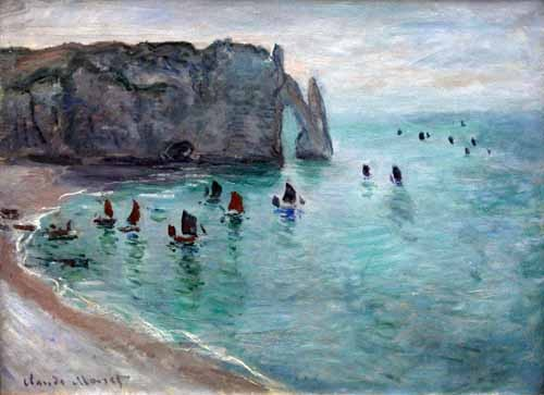 seascapes - Etretat the Aval door fishing boats leaving the harbour, 1819 - Monet, Claude