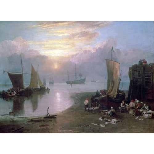 Comprar seascapes - Sun Rising Through Vapour Fishermen Cleaning and Selling Fish, online - Turner, Joseph M. William