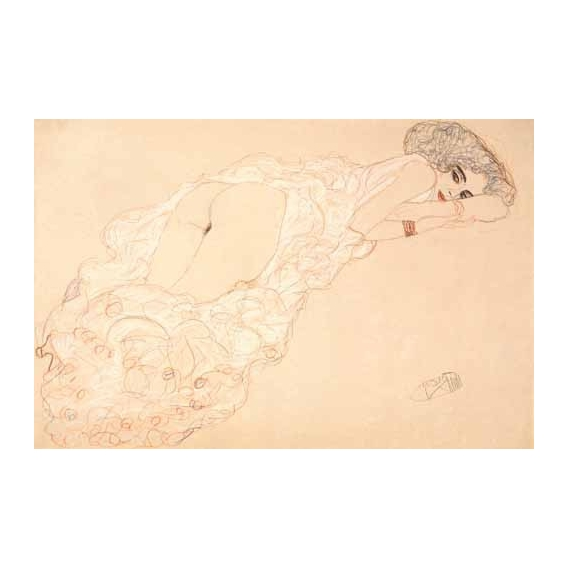 """""""Reclining Nude Lying on Her Stomach and Facing Right, 1910"""""""