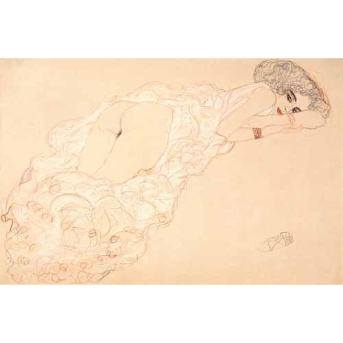 Comprar cuadros de desnudos - Cuadro Reclining Nude Lying on Her Stomach and Facing Right, 1910 online - Klimt, Gustav