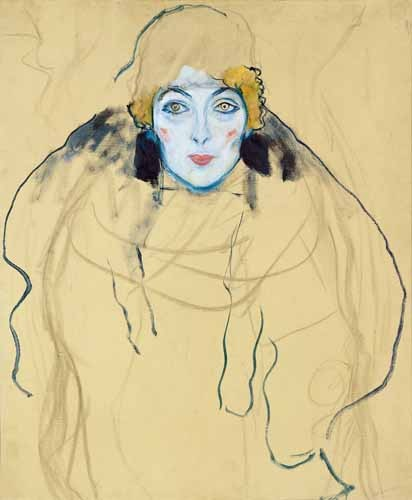 "cuadros de retrato - Cuadro ""Head of a Woman"" - Klimt, Gustav"