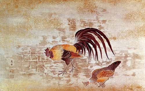 decorative paintings - Gallo y gallina - _Anónimo Chino