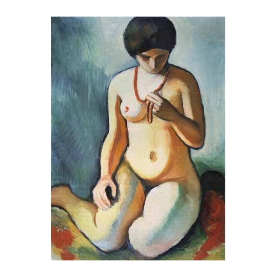 Nude with coral necklace