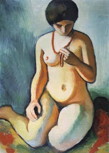 portrait and figure - Nude with coral necklace - Macke, August