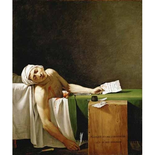 """Jean Paul Marat, dead in his bathtub (Muerte de Marat)"""