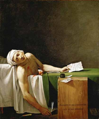 cuadros de retrato - Cuadro Jean Paul Marat, dead in his bathtub (Muerte de Marat) - David, Jacques Louis