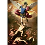The Archangel Michael hurls the rebellious angels into the abys