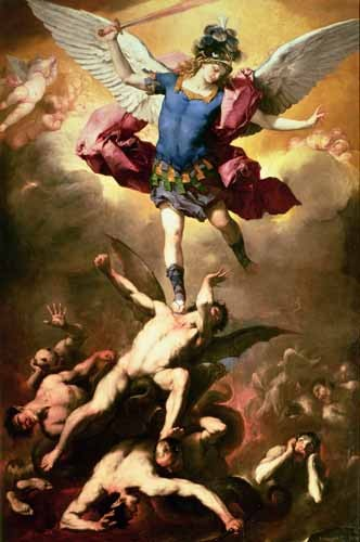 cuadros religiosos - Cuadro The Archangel Michael hurls the rebellious angels into the abys - Giordano, Luca (Lucas Jordan)