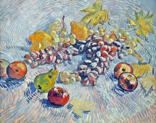 cuadros de bodegones - Cuadro Grapes, Lemons, Pears, and Apples, 1887 - Van Gogh, Vincent
