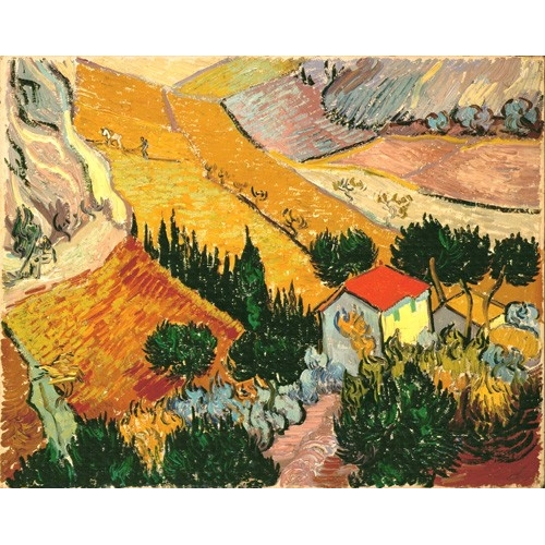 Cuadro Landscape with House and Ploughman, 1889