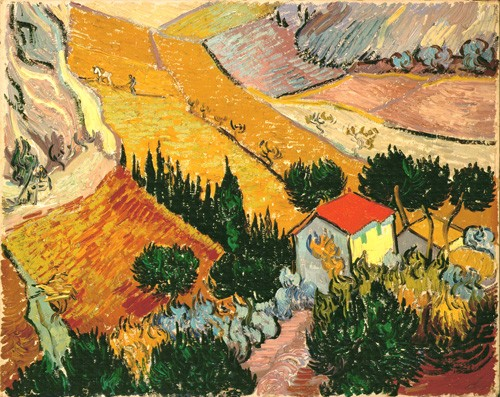 landscapes - Landscape with House and Ploughman, 1889 - Van Gogh, Vincent
