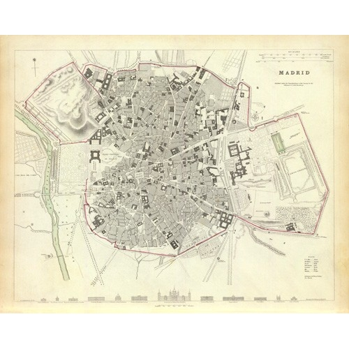 Comprar maps, drawings and watercolors - Madrid 1831 online - Mapas antiguos
