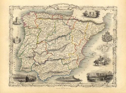 maps, drawings and watercolors - España y Portugal (1851) - Mapas antiguos