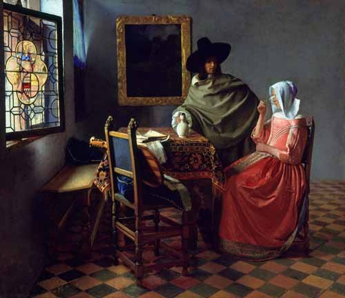 cuadros de retrato - Cuadro The Glass of Wine - Vermeer, Johannes