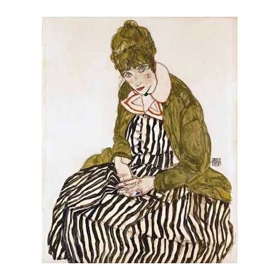 """Edith Schiele in Striped Dress, Seated, 1915"""