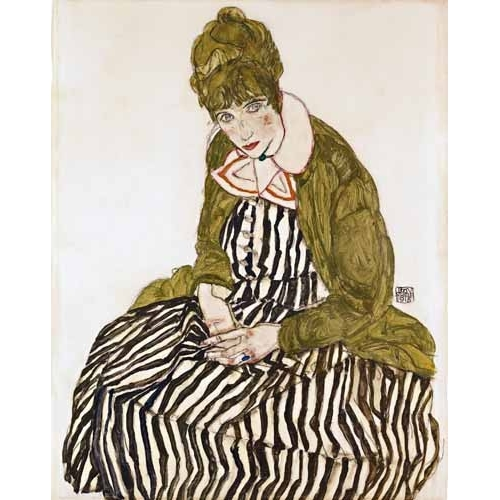 Cuadro Edith Schiele in Striped Dress, Seated, 1915