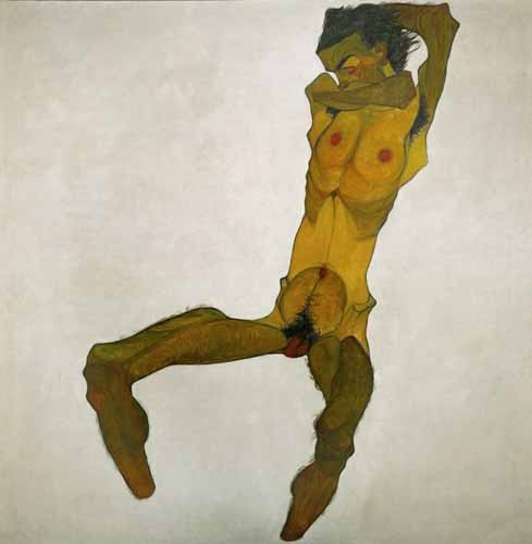 portrait and figure - Self-portrait, nude - Schiele, Egon
