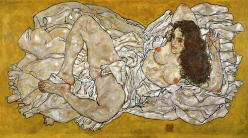 portrait and figure - Liegende Frau - Schiele, Egon