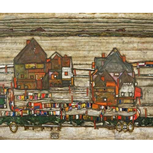 Comprar  - Houses and Colorful Laundry (Two Blocks of Houses with Clothes online - Schiele, Egon