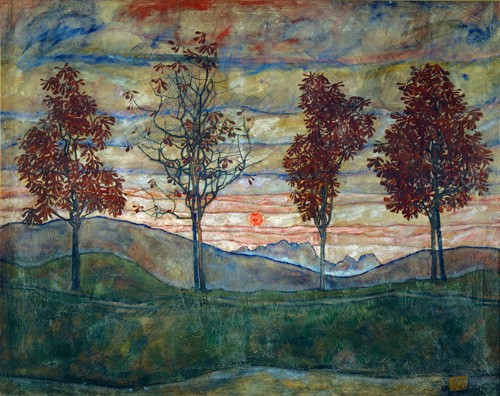 landscapes - Four Trees - Schiele, Egon