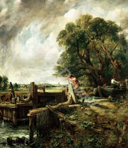 cuadros de paisajes - Cuadro Barges passing a lock on the Stour (La Presa) - Constable, John