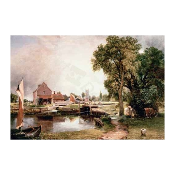 """Dedham Lock and Mill, 1820 (oil on canvas)"""
