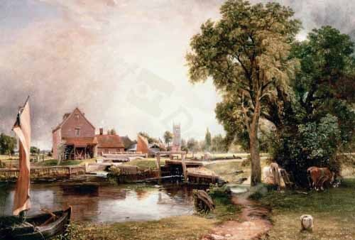 cuadros de paisajes - Cuadro Dedham Lock and Mill, 1820 (oil on canvas) - Constable, John