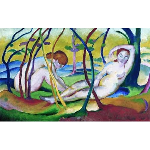 Comprar nude paintings - Nudes under Trees, 1911 online - Marc, Franz