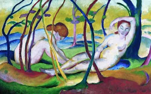 nude paintings - Nudes under Trees, 1911 - Marc, Franz