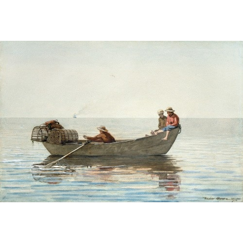 Comprar maps, drawings and watercolors - Three Boys in a Dory with Lobster Pots, 1875 online - Homer, Winslow