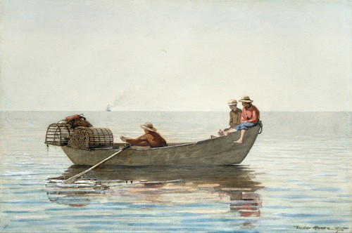 "cuadros de mapas, grabados y acuarelas - Cuadro ""Three Boys in a Dory with Lobster Pots, 1875"" - Homer, Winslow"
