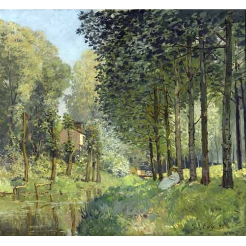 Comprar cuadros de paisajes - Cuadro Rest along the Stream Edge of the Wood, 1878 online - Sisley, Alfred