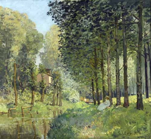 cuadros de paisajes - Cuadro Rest along the Stream Edge of the Wood, 1878 - Sisley, Alfred
