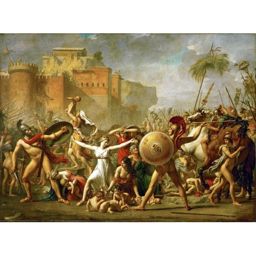 The Sabine women halting the battle between Romans and Sabines,