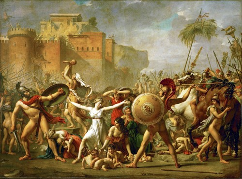 portrait and figure - The Sabine women halting the battle between Romans and Sabines, - David, Jacques Louis