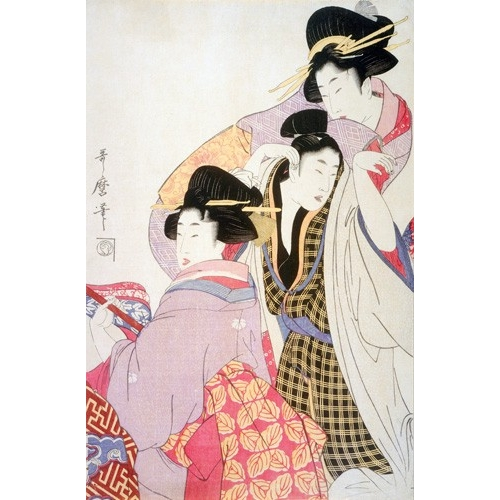 Comprar ethnic and oriental paintings - Two Geishas and a Tipsy Client online - Utamaro, Kitagawa