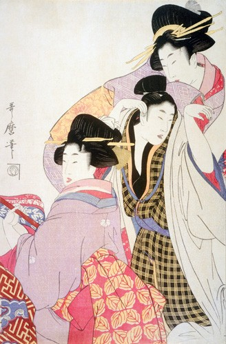 ethnic and oriental paintings - Two Geishas and a Tipsy Client - Utamaro, Kitagawa