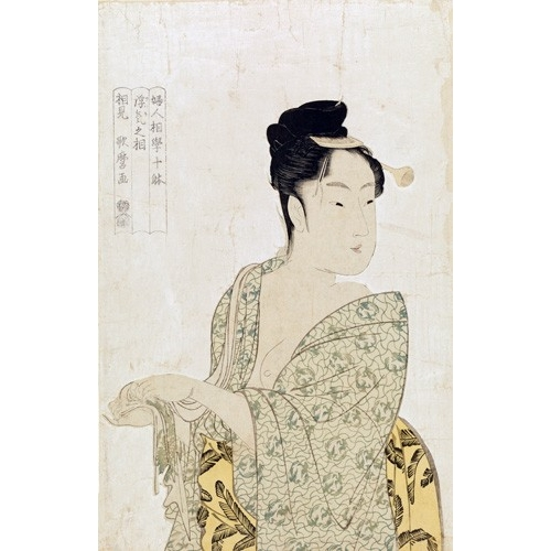 Comprar ethnic and oriental paintings - Ten physiognomic types of women, Coquettish type online - Utamaro, Kitagawa