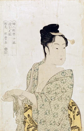 ethnic and oriental paintings - Ten physiognomic types of women, Coquettish type - Utamaro, Kitagawa