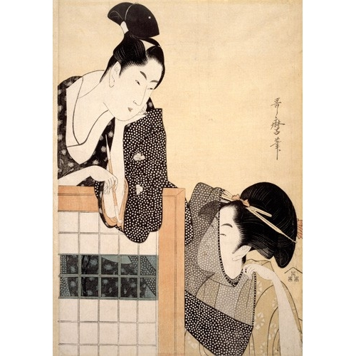 Comprar ethnic and oriental paintings - Couple with a Standing Screen online - Utamaro, Kitagawa