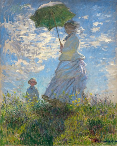portrait and figure - Woman with a Parasol - Madame Monet and Her Son, 1875 - Monet, Claude